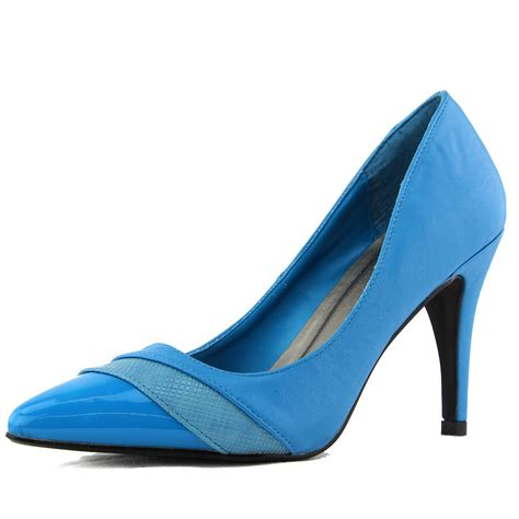 turquoise blue pumps tri tone pointy toe high heel