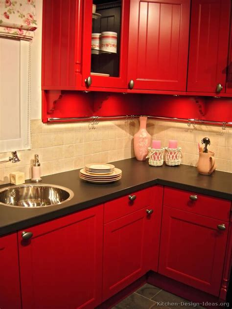 red kitchen design ideas pictures of kitchens traditional red kitchen cabinets