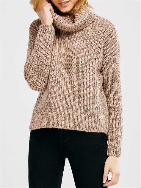 Turtleneck Batwing Sweater batwing sleeve turtle neck heathered sweater in pink