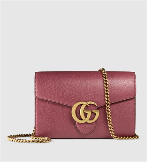 Chain Wallet by Lyst Gucci Gg Marmont Leather Chain Wallet In Purple