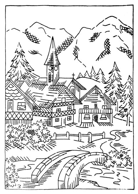 coloring pages christmas village more vintage uk transfers q is for quilter