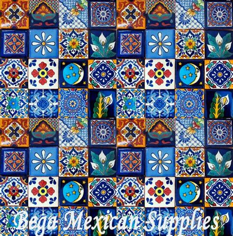 Mexican Handcrafted Tile - 50 mexican talavera tiles mixed designs 2x2 mosaic tiles