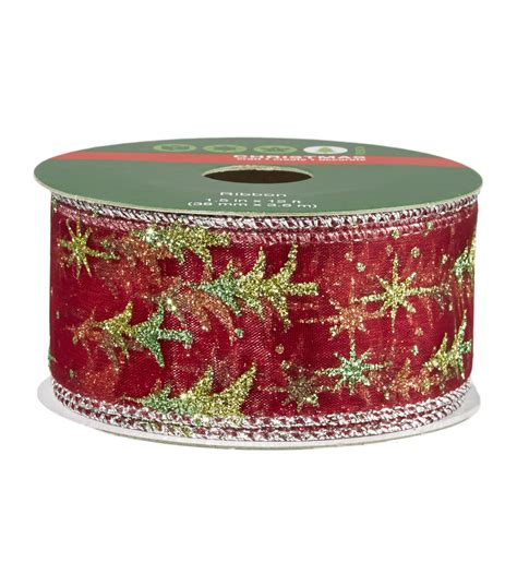 christmas ribbon 1 5 in x 12 ft wire edge green tree red