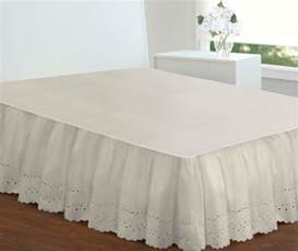Bed Dust Ruffle Extra Long Ivory Bed Skirt Full Size 18 Inch Drop Eyelet
