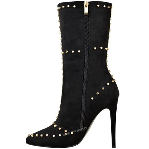 celeb high heel womens ladies sexy studded ankle boots high heel party