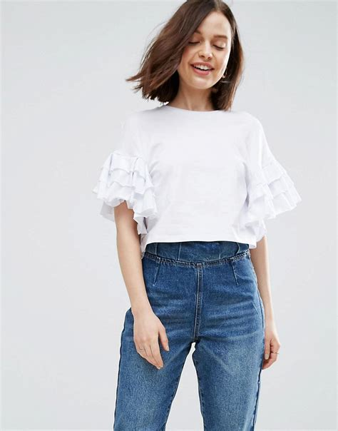 sleeve ruffled shirt crop t shirt with ruffle sleeve