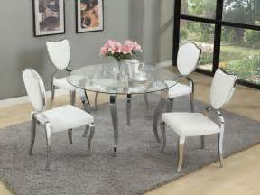 Kitchen Glass Table And Chairs White Leather Chairs With Silver Steel Legs Combined With Glass Table Feat Four Curving