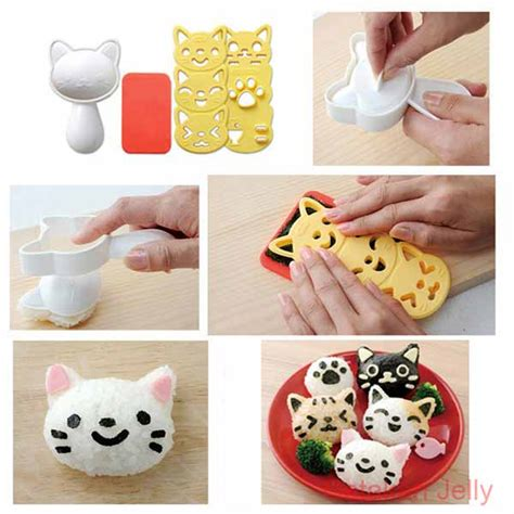 Bento Isi 3pcs Rice Mold Murah cetakan nasi bento cat rice mold with nori cutter cetakan jelly cetakan jelly