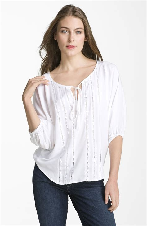 Blouse Peasant embroidered peasant blouse in white lyst