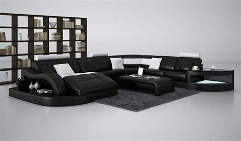 black and white sectional couch divani casa 6140 modern black and white leather sectional sofa