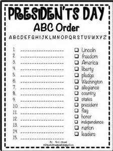 president s day abc order printable