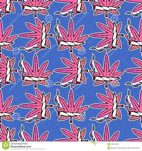seamless pattern girly cute weed marijuana seamless pattern background stock