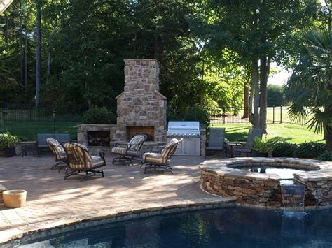 Backyard Pool Fireplace Designs Outdoor Kitchen And Fireplace Designs
