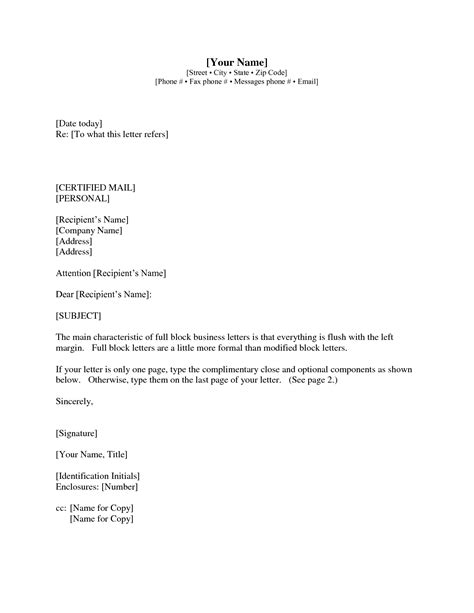 Business Letter Format With Subject Line best photos of professional letter with subject business