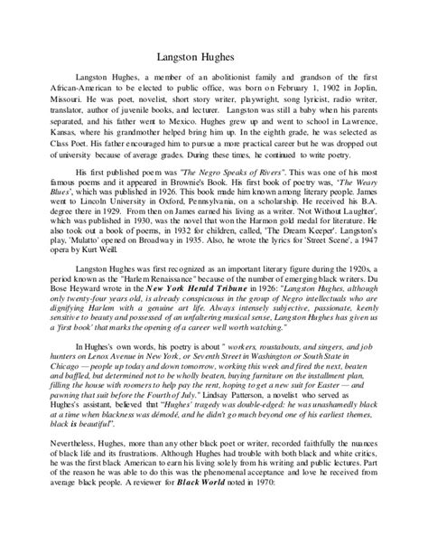 Dreams Deferred Essay by Langston Hughes And A Deferred