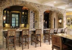 House Of L Interior Design Stone Bar With Arched Facade Mediterranean Kitchen