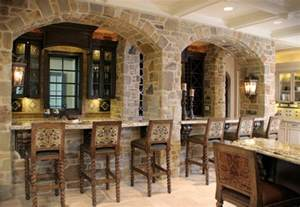 Stone bar with arched facade mediterranean kitchen cleveland
