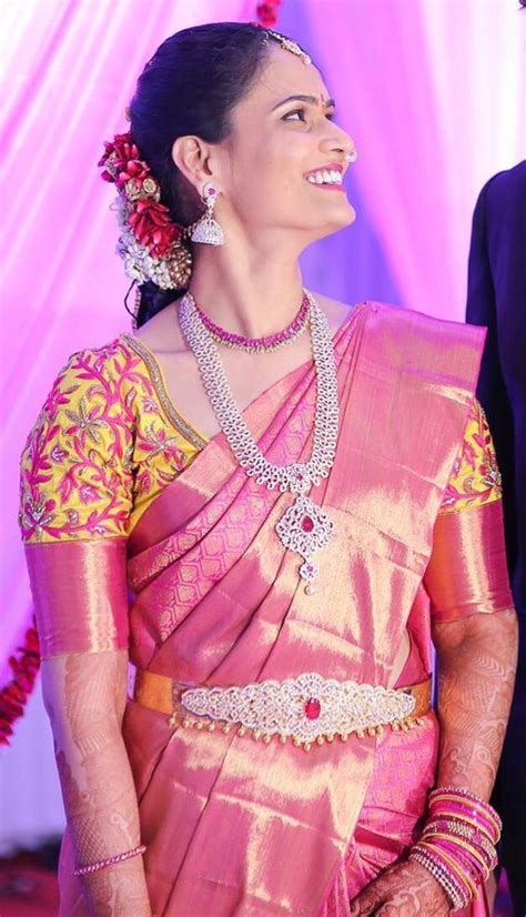 Pink saree with Yellow Blouse   Photo Gallery