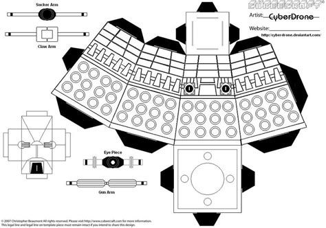 Black And White Papercraft - cubee dalek blank by cyberdrone on deviantart