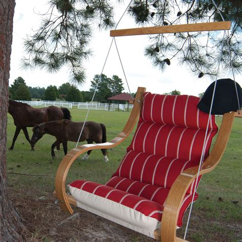 single porch swing royal red stripe single porch swing with oak arms dfohome