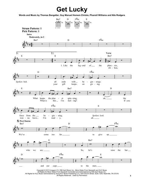 get lucky piano sheet music get lucky sheet music direct