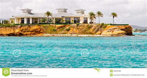 Vacation Cottage Plans luxury waterfront mansion on antigua royalty free stock