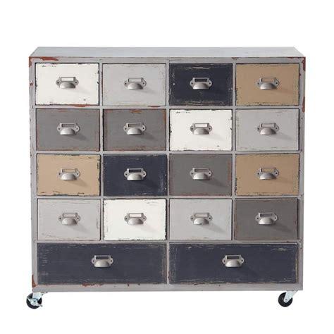 lade industriali vintage cabinet de rangement 224 roulettes en bois gris l 85 cm