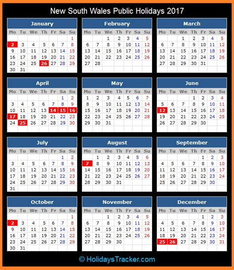 2018 Calendar Nsw New South Wales Australia Holidays 2017
