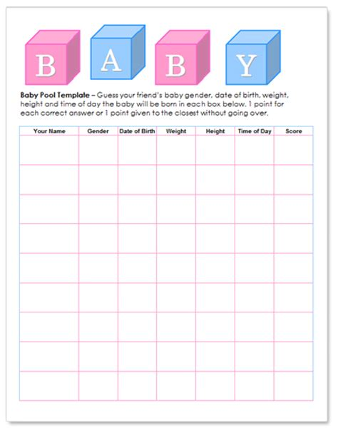 Worddraw Com Free Baby Pool Template For Microsoft Word Office Baby Pool Template Excel