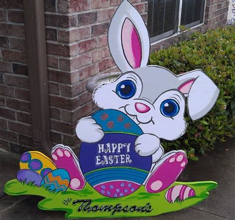 big bunny easter holidays and lawn ornaments on