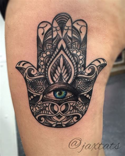 hamsa tattoos hamsa with realistic blue eye
