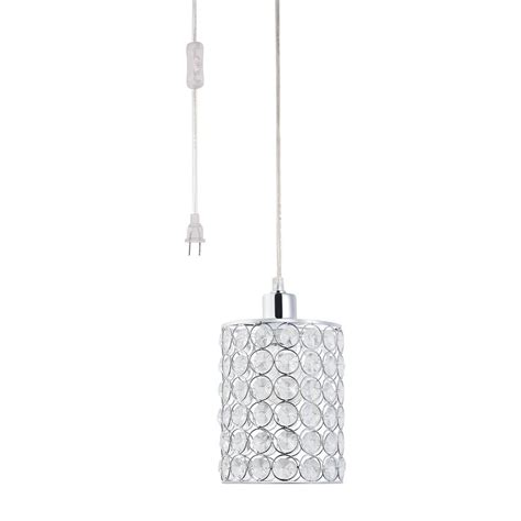 home hanging light cord globe electric 15 ft 1 light chrome crystal cylindrical