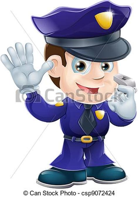 eps vector de illustr, carácter, caricatura, policía a