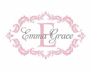 Baby Monogram Wall Decor Name And Initial Vinyl Wall Decal Shabby Chic Damask