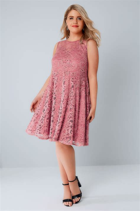 Pink Lace Dress 30580 pink lace skater dress with sweetheart neckline plus size 16 to 32