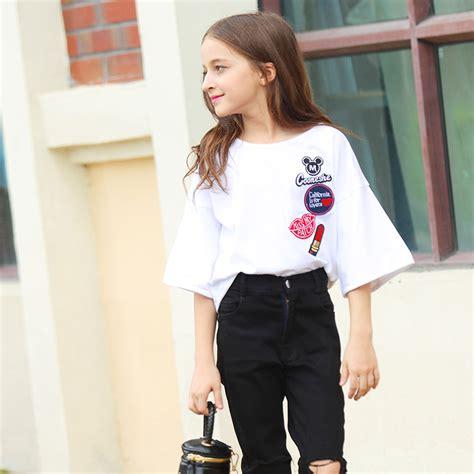 Mickey Katun Sweater Korea Fashion mickey mouse logo print white shirt clothes tops for three quarters