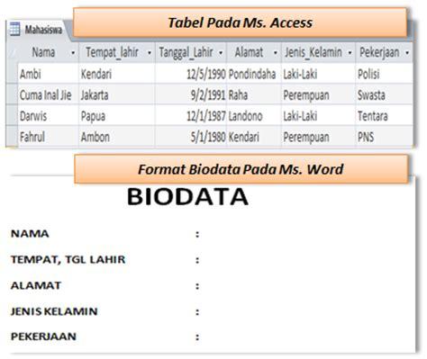 format membuat biodata the beauty of sharing cara menilkan data ms access di