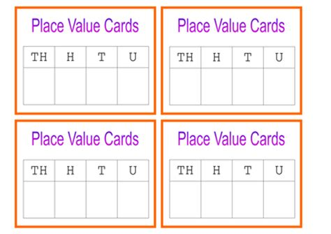 Place Value Cards Template by Place Value Cards Doc