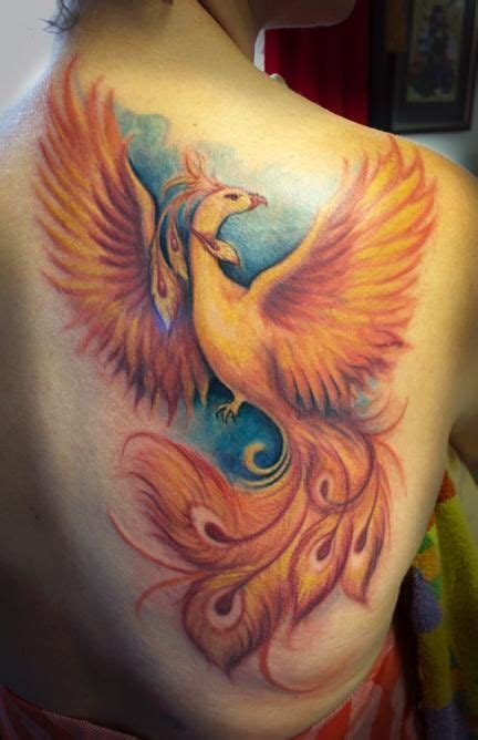phoenix shoulder tattoo designs colored on right back shoulder personal