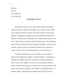 Essay About Poor by Poverty Essay