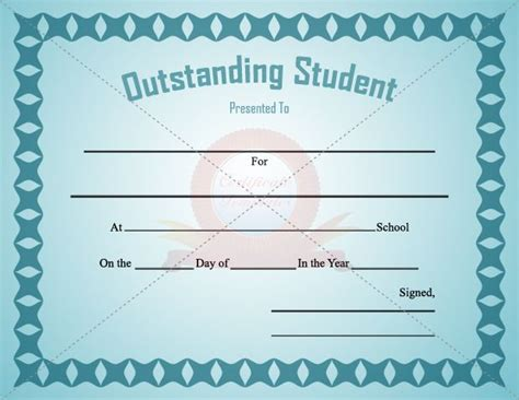 best student certificate template outstanding student certificate template for