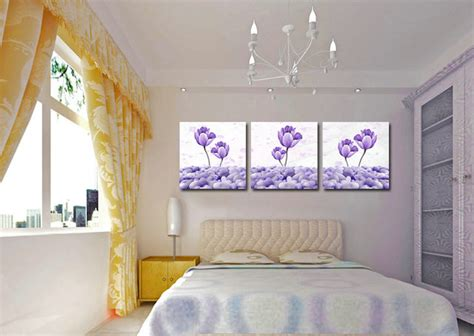 3 panel modern printed purple flower painting canvas cuadros flowers picture wall home decor