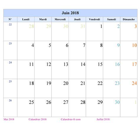 Calendrier 2018 Juin Calendrier Juin 2018 224 Imprimer Gratuit En Pdf Et Excel