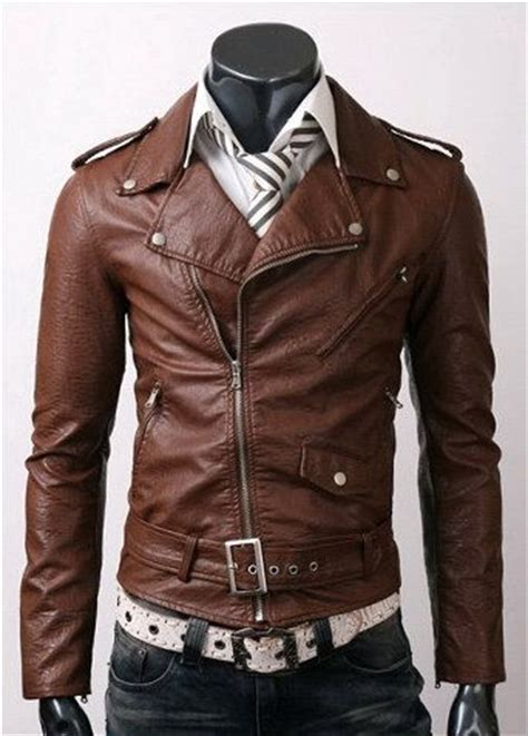 mens brown biker mens brown leather biker jacket www pixshark com