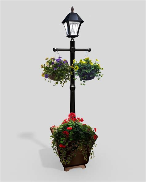 Solar L Post Light Planter by Outdoor Lighting Solar Led More The Home Depot Canada