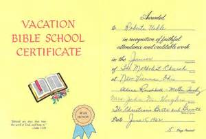 Vacation Bible School Certificate Templates by Uibles A Family 1962 Roberta S Vacation Bible