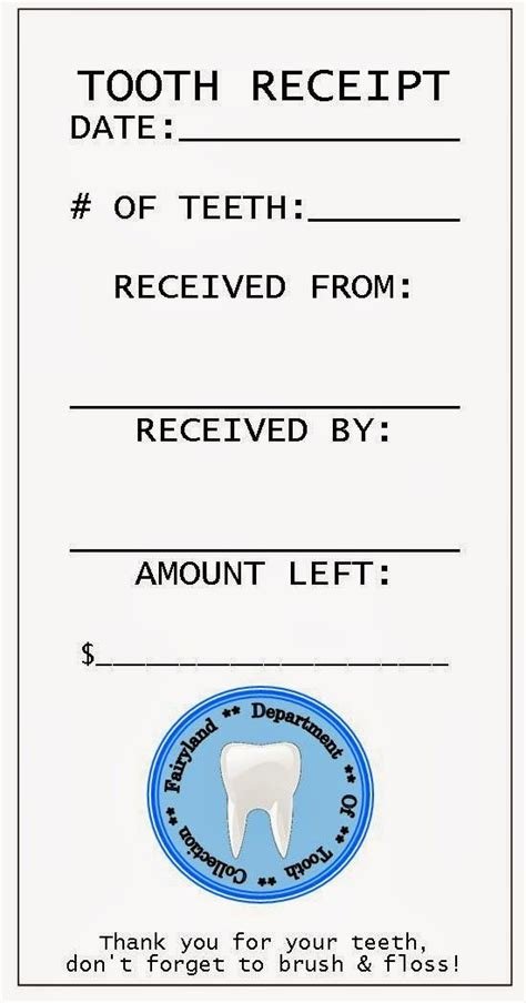 tooth receipt template editable tooth receipt fairies and tooth on