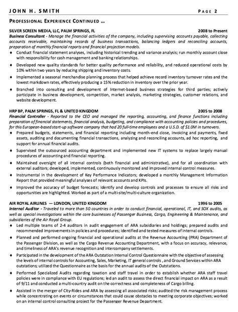 financial controller resume sle http resumesdesign