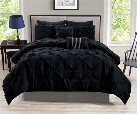 black bedding queen 8 piece rochelle pinched pleat black comforter set