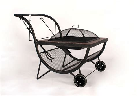 Firepit On Wheels Bbq Pit Grill Outdoor Fireplace On Wheels Trolley Charcoal Barbecue Bowl